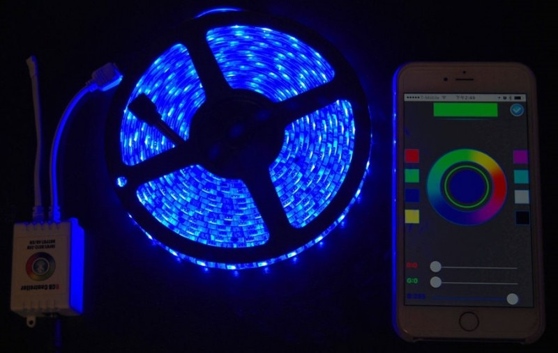Bluetooth Controlled RGB LED Kit With 24 Key Remote & Power Adapter