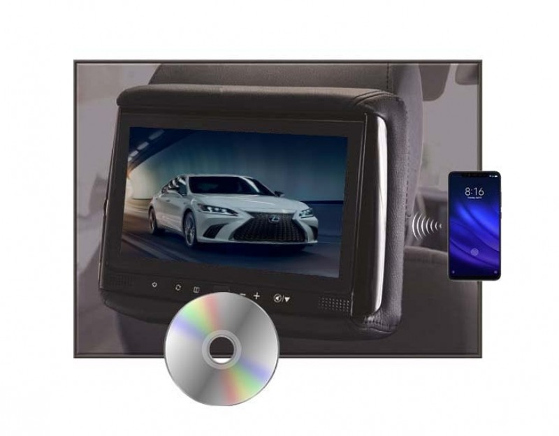 "RHD-906M - 9"" HD Headrest w/ Wireless Screencasting and Build-in DVD Player"