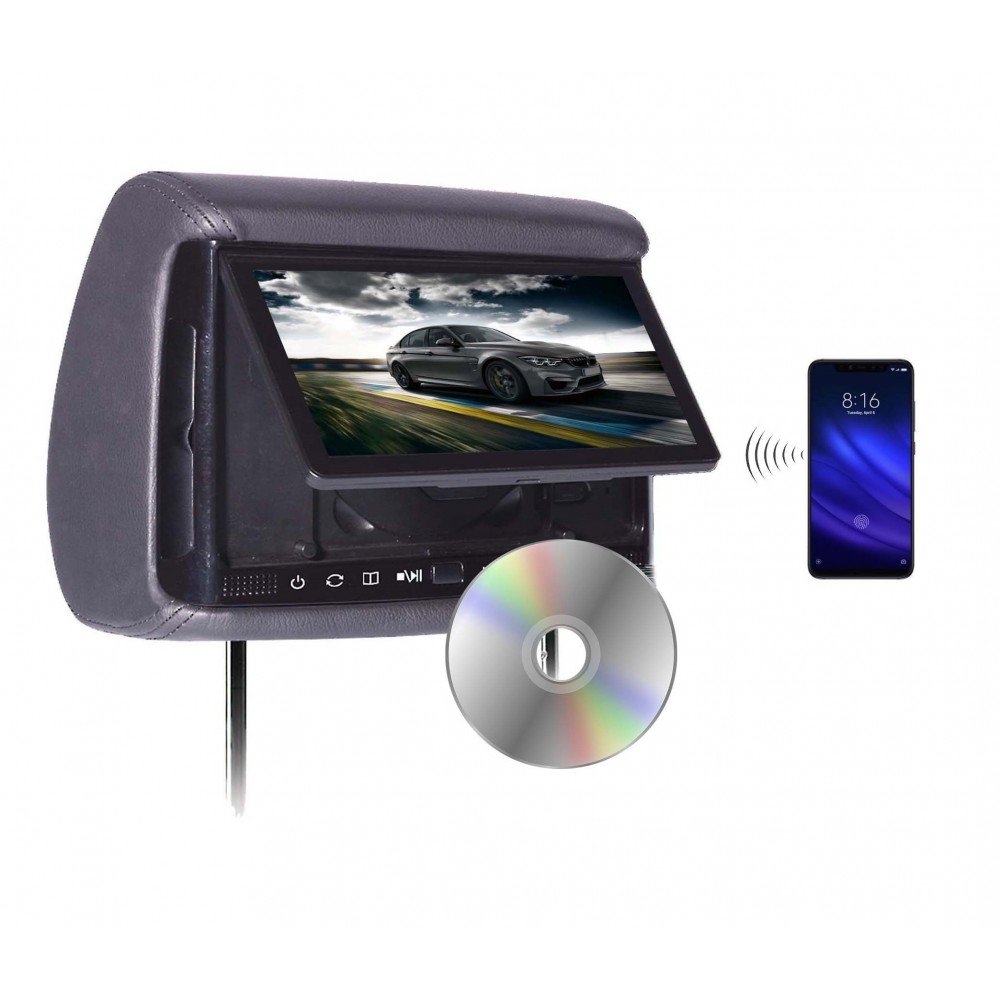 "BHD-906DM - Chameleon 9"" HD Headrest w/ Wireless Screencasting and Build-in DVD Player"